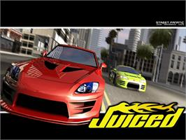 Title screen of Juiced on the Microsoft Xbox.