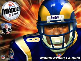 Title screen of Madden NFL 2003 on the Microsoft Xbox.