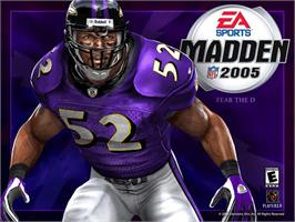 Title screen of Madden NFL 2005 on the Microsoft Xbox.