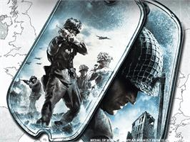 Title screen of Medal of Honor: European Assault on the Microsoft Xbox.