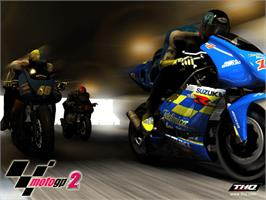 Title screen of MotoGP 2 on the Microsoft Xbox.