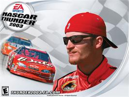 Title screen of NASCAR Thunder 2003 on the Microsoft Xbox.