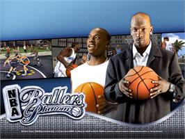 Title screen of NBA Ballers: Phenom on the Microsoft Xbox.