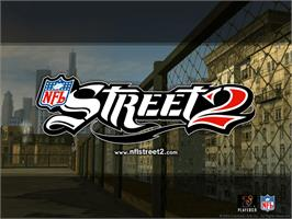 Title screen of NFL Street 2 on the Microsoft Xbox.