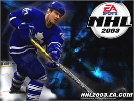 Title screen of NHL 2003 on the Microsoft Xbox.
