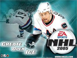 Title screen of NHL 2005 on the Microsoft Xbox.