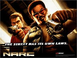 Title screen of Narc on the Microsoft Xbox.