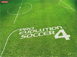 Title screen of Pro Evolution Soccer 4 on the Microsoft Xbox.
