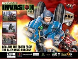 Title screen of Robotech: Invasion on the Microsoft Xbox.