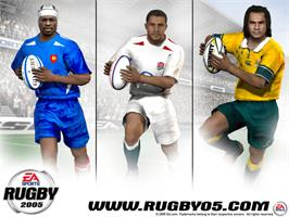 Title screen of Rugby 2005 on the Microsoft Xbox.