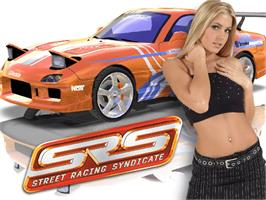 Title screen of SRS: Street Racing Syndicate on the Microsoft Xbox.