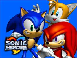 Title screen of Sonic Heroes on the Microsoft Xbox.