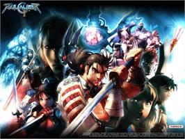 Title screen of SoulCalibur 2 on the Microsoft Xbox.