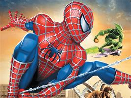 Title screen of Spider-Man: The Movie on the Microsoft Xbox.