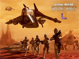 Title screen of Star Wars: The Clone Wars on the Microsoft Xbox.