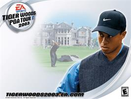 Title screen of Tiger Woods PGA Tour 2003 on the Microsoft Xbox.