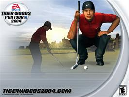 Title screen of Tiger Woods PGA Tour 2004 on the Microsoft Xbox.