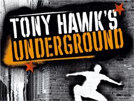 Title screen of Tony Hawk's Underground on the Microsoft Xbox.