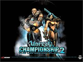 Title screen of Unreal Championship 2: The Liandri Conflict on the Microsoft Xbox.