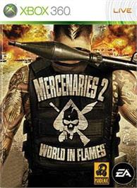 Box cover for Mercenaries 2 on the Microsoft Xbox 360.
