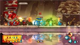 In game image of Awesomenauts on the Microsoft Xbox 360.