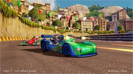 In game image of Cars 2: The Video Game on the Microsoft Xbox 360.