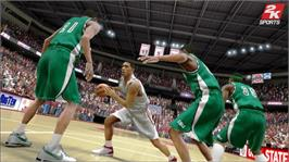 In game image of College Hoops 2K8 on the Microsoft Xbox 360.