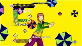 In game image of DDR Universe 3 on the Microsoft Xbox 360.