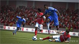 In game image of FIFA 12 on the Microsoft Xbox 360.