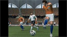 In game image of Pro Evolution Soccer 6 on the Microsoft Xbox 360.