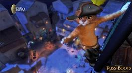 In game image of Puss in Boots on the Microsoft Xbox 360.