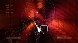 In game image of Rez HD on the Microsoft Xbox 360.
