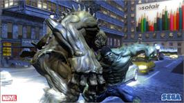 In game image of The Incredible Hulk on the Microsoft Xbox 360.