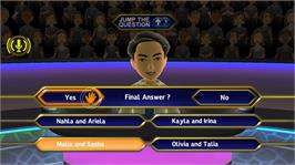 In game image of Who Wants To Be A Millionaire on the Microsoft Xbox 360.