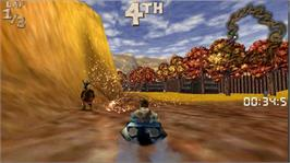 In game image of Cro-Mag Rally® Extreme! on the Microsoft Xbox Live Arcade.