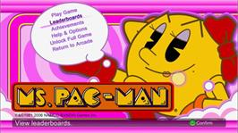 In game image of MS.PAC-MAN on the Microsoft Xbox Live Arcade.