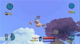 In game image of Worms: Ultimate Mayhem on the Microsoft Xbox Live Arcade.