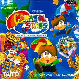 Box cover for Parasol Stars: The Story of Bubble Bobble III on the NEC PC Engine.