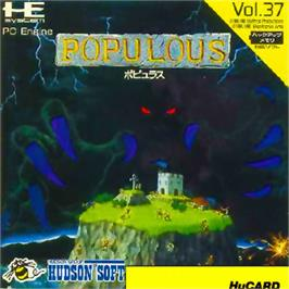 Box cover for Populous on the NEC PC Engine.