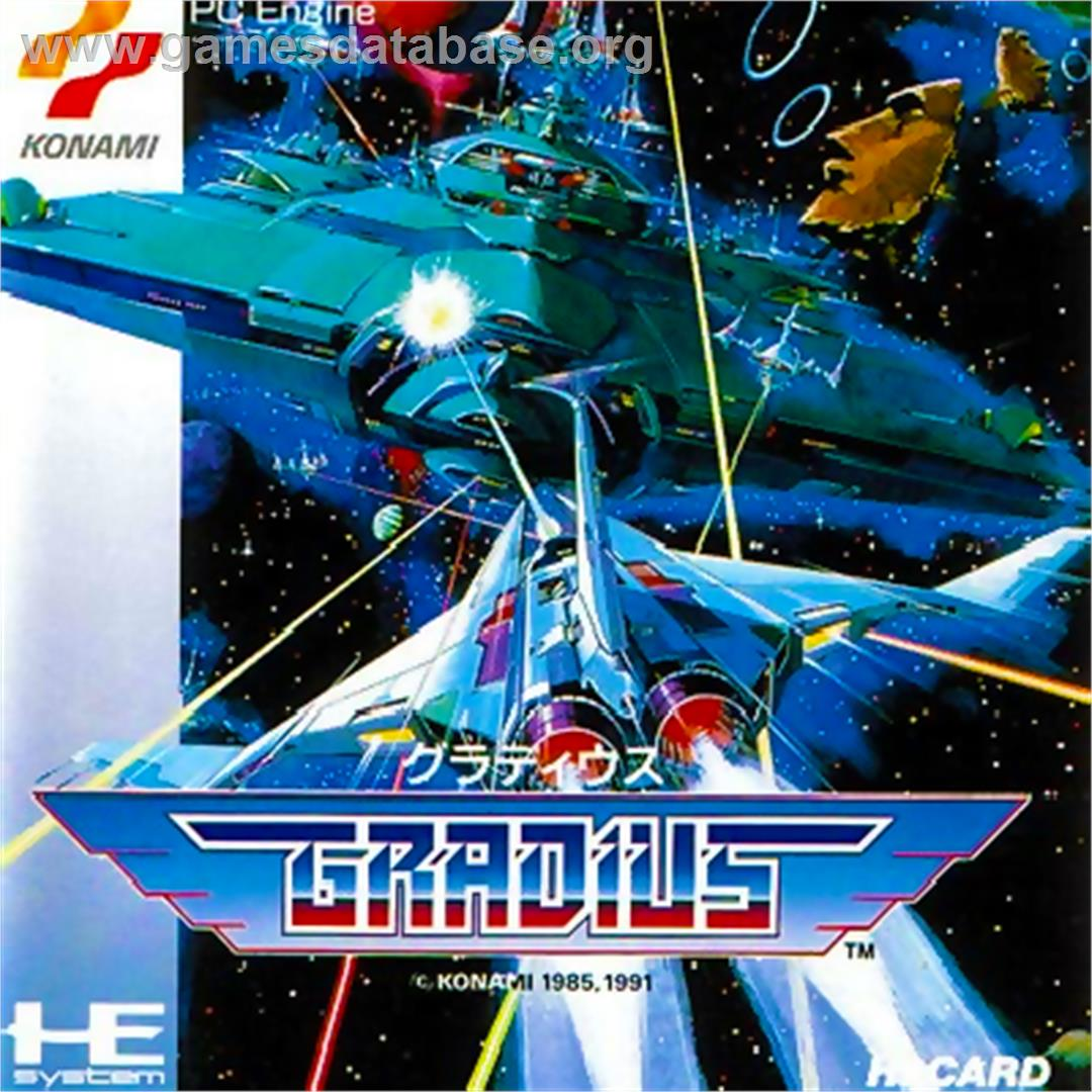 Box cover for Gradius on the NEC PC Engine.