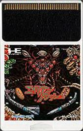 Cartridge artwork for Alien Crush on the NEC PC Engine.