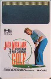 Cartridge artwork for Jack Nicklaus' Greatest 18 Holes of Major Championship Golf on the NEC PC Engine.