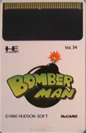 Cartridge artwork for Mega Bomberman on the NEC PC Engine.