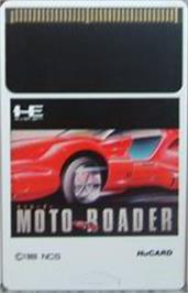 Cartridge artwork for Moto Roader on the NEC PC Engine.