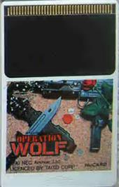 Cartridge artwork for Operation Wolf on the NEC PC Engine.