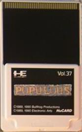Cartridge artwork for Populous on the NEC PC Engine.
