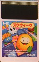Cartridge artwork for Skweek on the NEC PC Engine.