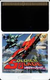 Cartridge artwork for Soldier Blade on the NEC PC Engine.