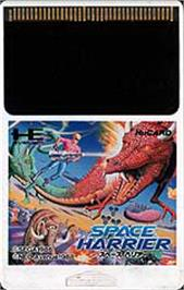 Cartridge artwork for Space Harrier on the NEC PC Engine.