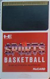 Cartridge artwork for TV Sports: Basketball on the NEC PC Engine.